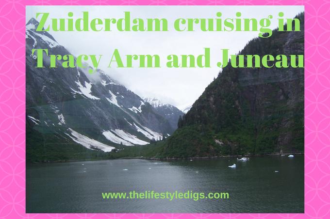 Holland America Zuiderdam cruising in Tracy Arm and Juneau, Alaska