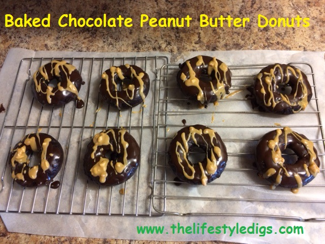 Baked Chocolate Peanut Butter Donuts