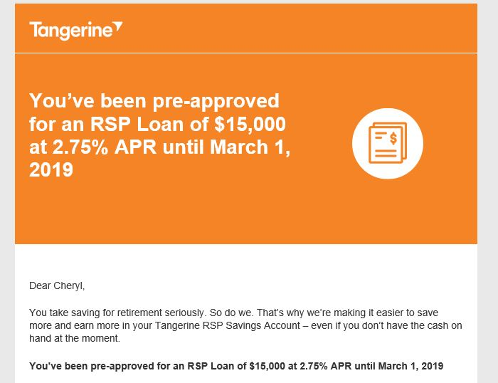 Is taking an RSP Loan from Tangerine Bank a Good Idea?