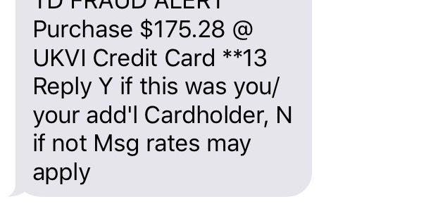 TD Visa Fraud Alert Text