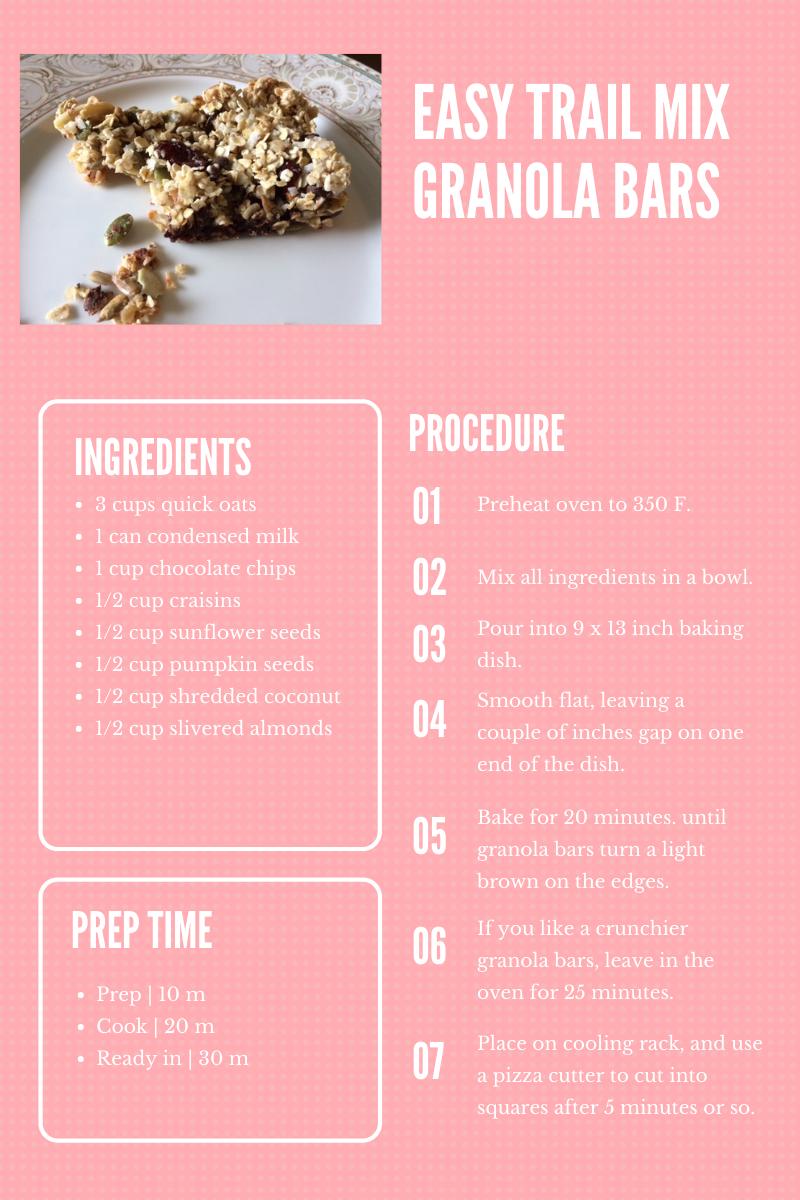 Easy Trail Mix Granola Bar Recipe